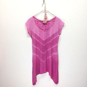Colombia pink tie dye shark bite hem tunic shirt S